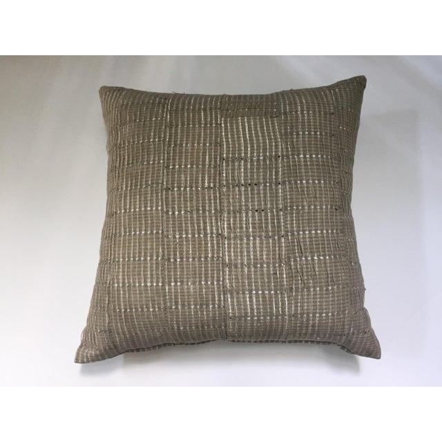 Vintage Aso Oke Metallic Thread Pillow - Image 2 of 4