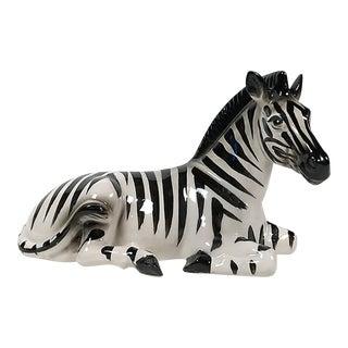 Mid 20th Century Ceramic Zebra Figurine For Sale
