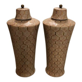 Antique Asian Style Handcrafted Porcelain Ginger Jars - a Pair For Sale