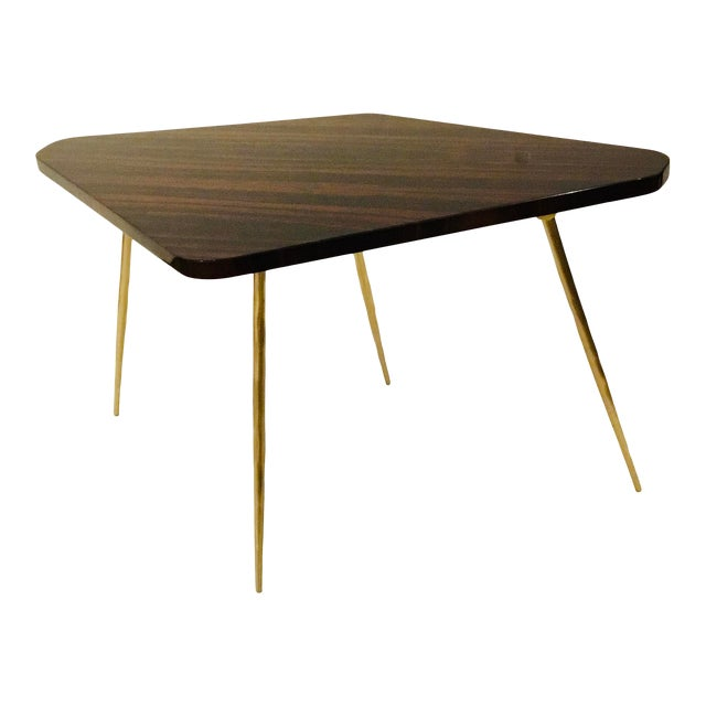 Caracole Signature Modern Macassar Ebony Lacquer and Textured Brass the Trilogy Side Table For Sale
