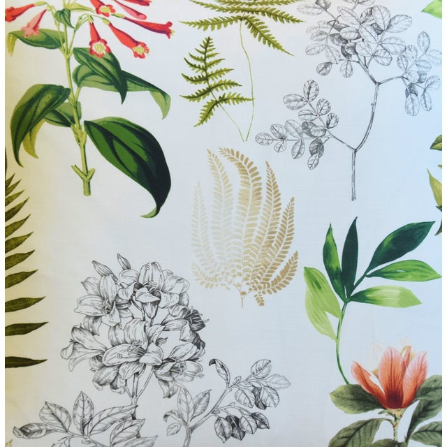 "Americana Botanical Floral Fern Linen & Velvet Feather/Down Pillow 24"" Square For Sale - Image 3 of 8"