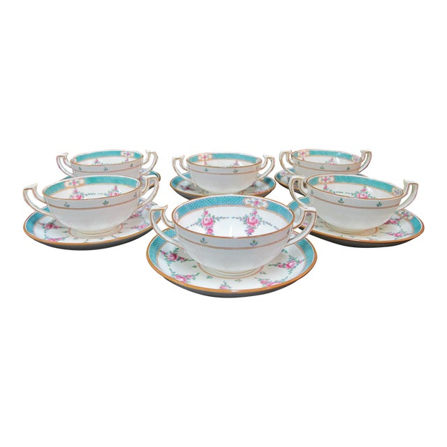 Minton China Persian Rose Bouillon Soup Cups & Saucers - Set of 6 For Sale