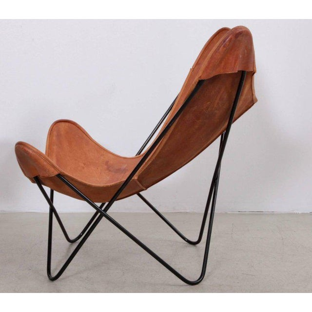 Tan Rare Matched Pair of Ferrari Hardoy Butterfly Chairs for Knoll For Sale - Image 8 of 9