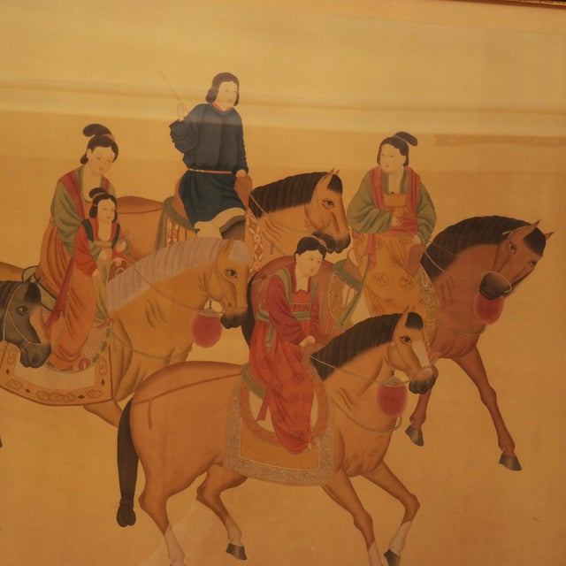 Large framed Chinese painting on silk depicting women riding on horses