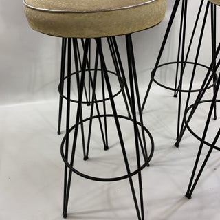 Mid Century Modern Federick Weinburg Style Hairpin Swivel Stools- Set of 4 Preview