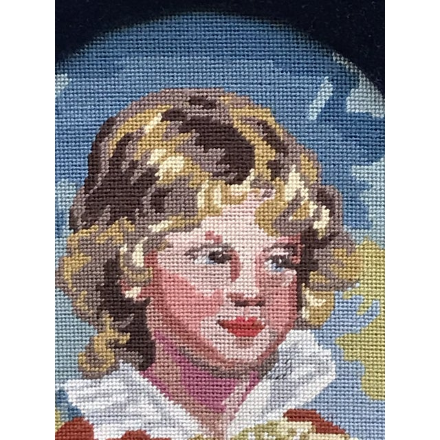 Precious Petite Hand Made Needlepoint Art Piece of a Golden Haired Boy and His Dog For Sale - Image 4 of 7