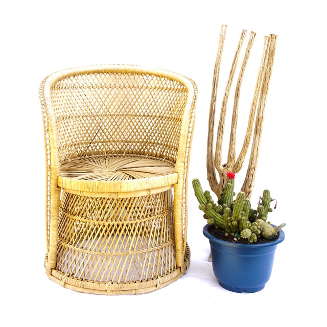 This incredible vintage Bohemian genuine natural woven rattan peacock barrel chair is stunning from every angle with...