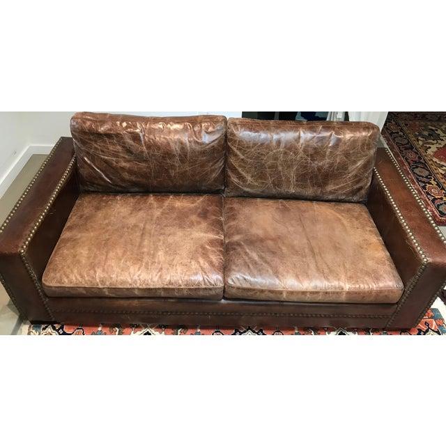 Italian Distressed Leather Sofa