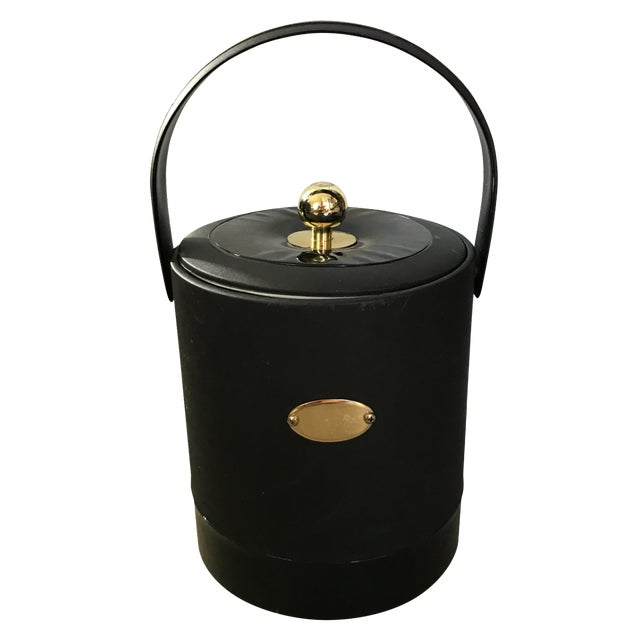 Georges Briard Black Patent Ice Bucket For Sale