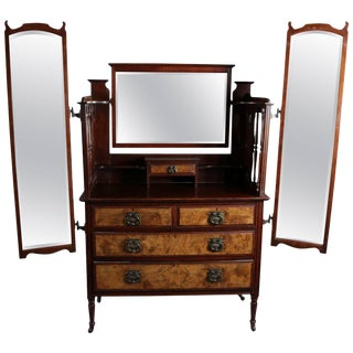 Antique English Edwardian Burled Walnut Dressing Table With Chest, 19th Century For Sale
