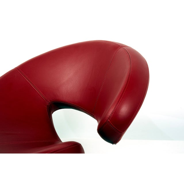 "Red Swivel Chair ""Nuage"" by Robert Tapinassi With Maurizio Manzoni for Roche Bobois For Sale - Image 8 of 9"