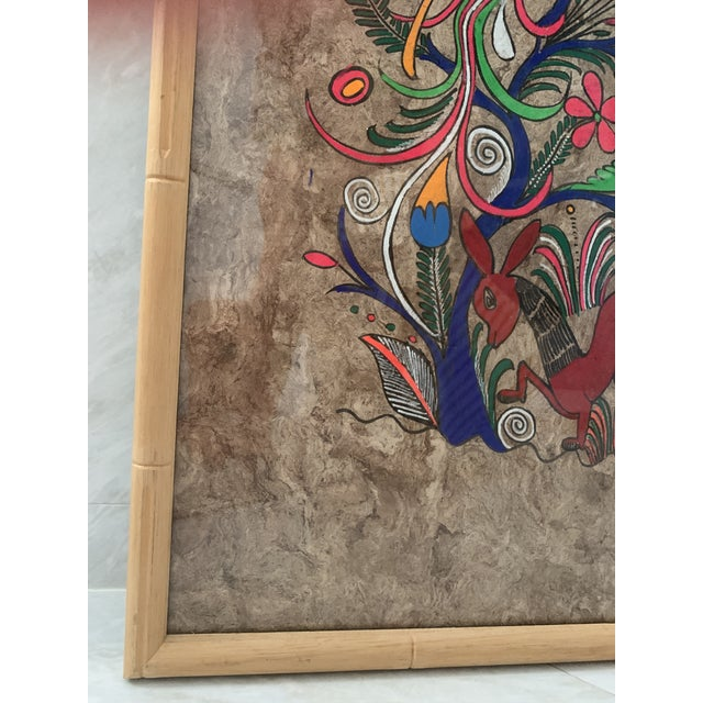 Brown Mexican Folk Art Painting on Amate Bark Paper, Framed For Sale - Image 8 of 10