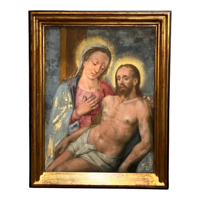 Oil on Board of Mary Magdalene and Jesus For Sale