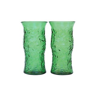 Emerald Green Glass Vases - a Pair For Sale