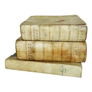 18th Century Vellum Books - Set of 3 For Sale