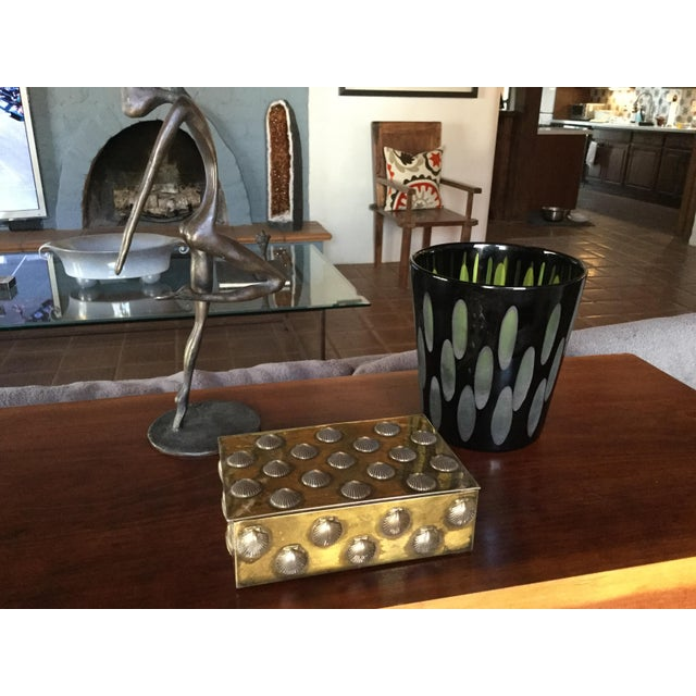 Murano Modernist Venini Co. Manner Black and Green Glass Encased Vessel For Sale In Phoenix - Image 6 of 7
