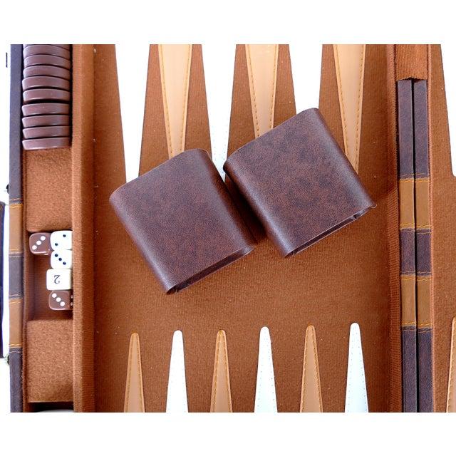Vintage Large Leatherette Backgammon Set W/ Travel Case For Sale - Image 4 of 8