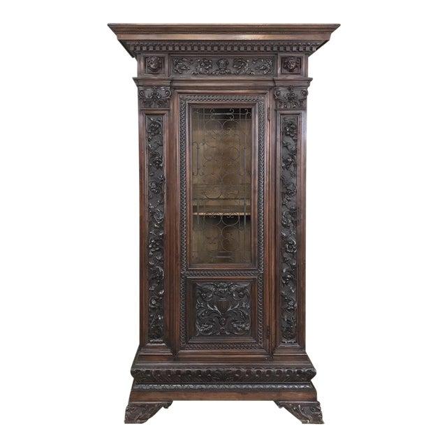 Antique Italian Renaissance Walnut Curio Cabinet For Sale