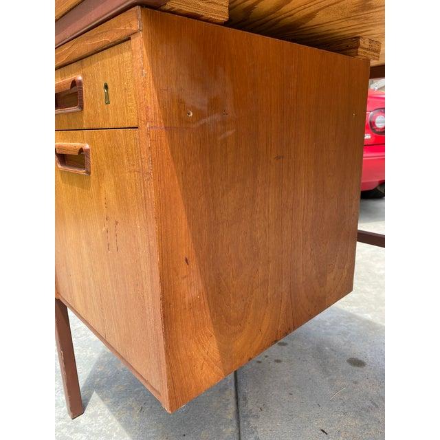 Jens Risom Early Teak, Metal and Vinyl Oversized Desk For Sale - Image 9 of 12