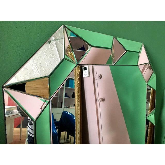 2000s Geometric Cut Surround Octagonal Mirror For Sale - Image 5 of 11