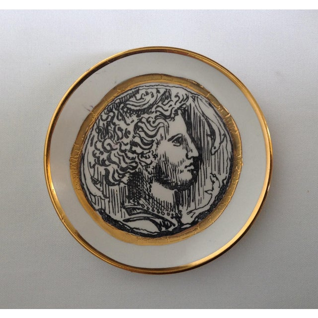 Italian Porcelain Gilt Roman Coin Drinks Coasters - Set 6 For Sale In West Palm - Image 6 of 11