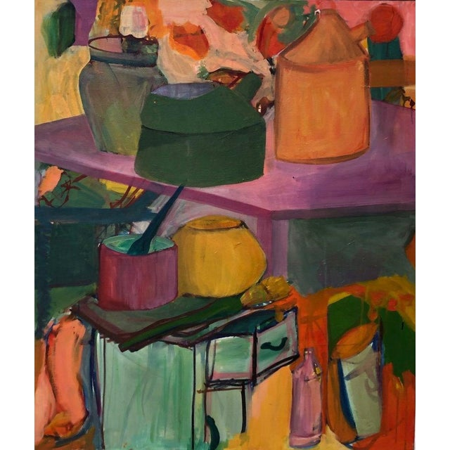 """Original Vintage Lynne Witherill 40x34"""" Still Life Abstract Expressionist Mid-Century Modern Oil on Canvas Painting For Sale - Image 4 of 4"""