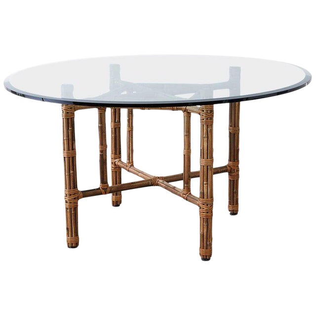 McGuire Organic Modern Bamboo Rattan Round Dining Table For Sale