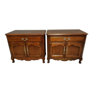 Wellington Hall French Provincial Solid Mahogany Nightstands - A Pair For Sale