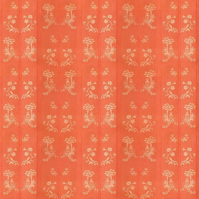 Suzanne Tucker Home Pagoda Silk Fabric in Coral For Sale