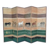 Image of Vintage Chinese Hand Painted Dressing Screen With Horses in Stable For Sale