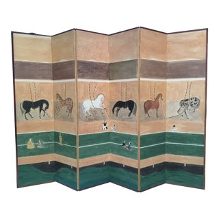 Vintage Chinese Hand Painted Dressing Screen With Horses in Stable For Sale