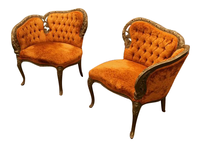 Wonderful French Antique Tufted Courting Chairs  A Pair