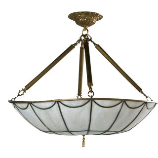 1920s Leaded Glass Light Fixture For Sale