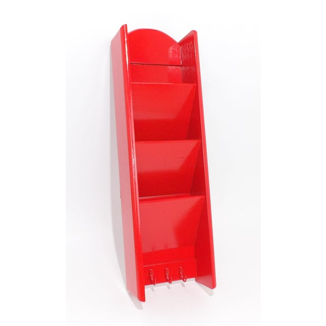1970s Mid-Century Modern Red Mail Key Slot Organizer For Sale - Image 5 of 11