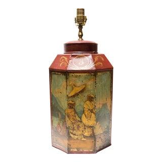 Antique 1920s Painted Scene Tea Tin Lamp For Sale