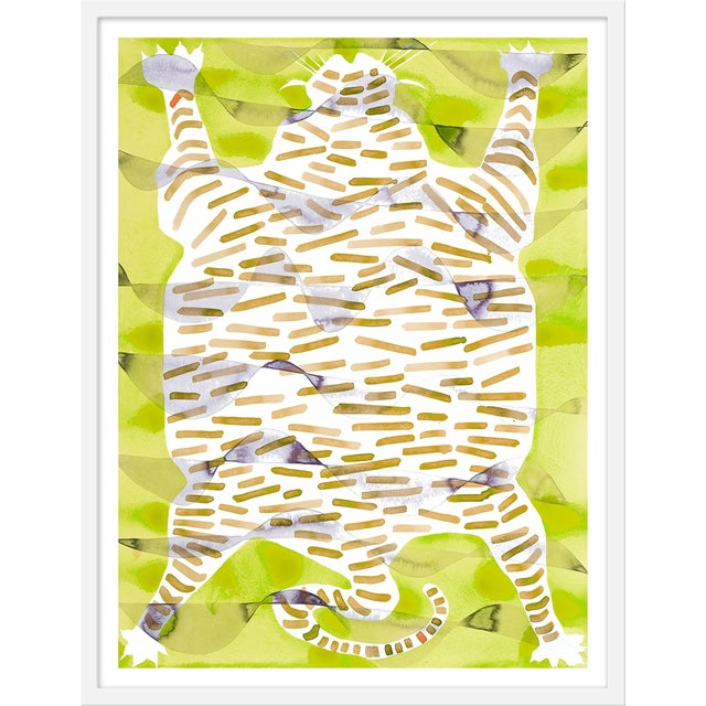 "Medium ""Tiger Rug Citron"" Print by Kate Roebuck, 27"" X 35"" For Sale"
