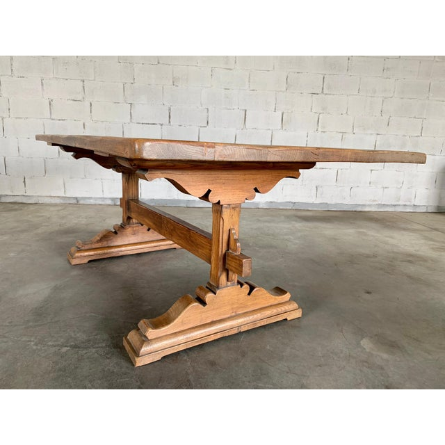 Wood Antique French Farmhouse Solid Oak Wood Trestle Dining Table 19th C. For Sale - Image 7 of 13