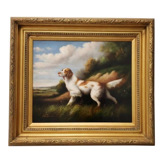 Fine Vintage Oil Portrait of an English Setter by Van Webber For Sale