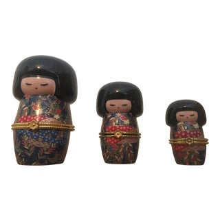 Hand Painted Porcelain Geisha Nesting Doll Trinket Boxes For Sale