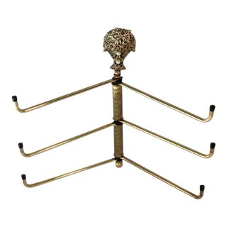 Vintage Brass Wall Mount Swivel 6 Hooks Flower Basket Finial Towel Hat Coat For Sale