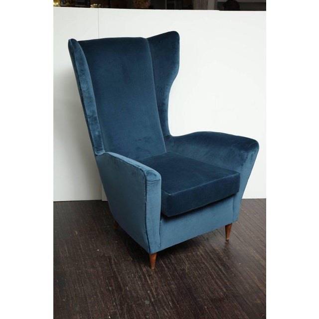 Textile Vintage Italian Modern Wingback Chairs in Blue Velvet For Sale - Image 7 of 8