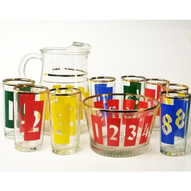 Mid-Century Modern Mid-Century Decanter, Ice Bucket and Highball Glasses Numbered in Bright Primary Colors - Set of 10 For Sale - Image 3 of 13