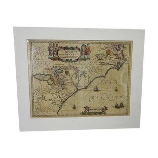 17th Century Antique Map of Virginia & Florida