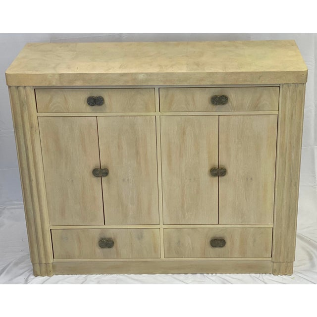 Late 20th Century Art Deco Hickory White Pickled Oak Cabinet For Sale - Image 5 of 12