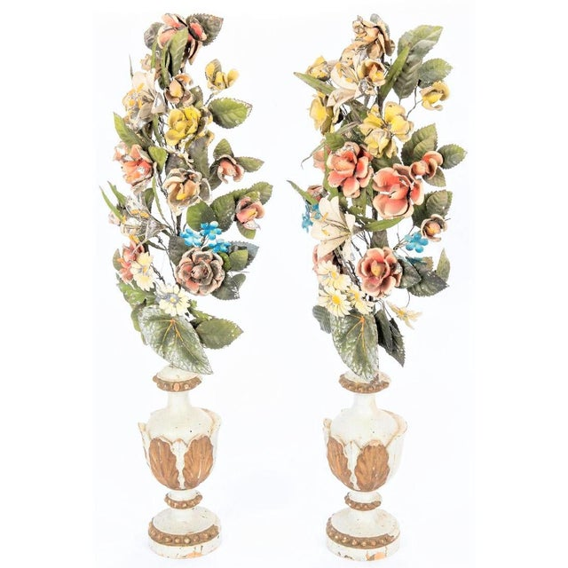 Late 19th Century Antique Italian Tole Peinte Floral Topiaries - a Pair For Sale - Image 5 of 12