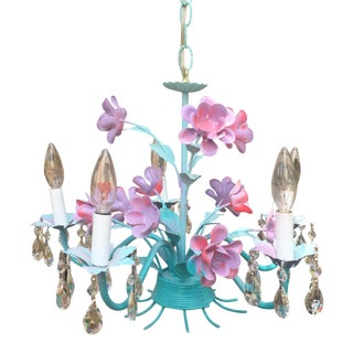 Vintage Turquoise and Pink Tole Chandelier With Teardrop Crystal Pendants For Sale
