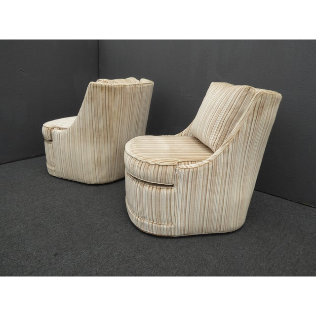Milo Baughman Vintage Mid-Century Modern Milo Baughman Style Tan Stripped Velvet Swivel Chairs - a Pair For Sale - Image 4 of 13