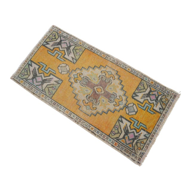 Distressed Rug Low Pile Hand Knotted Yastik Rug Faded Mat- 18'' X 36'' For Sale