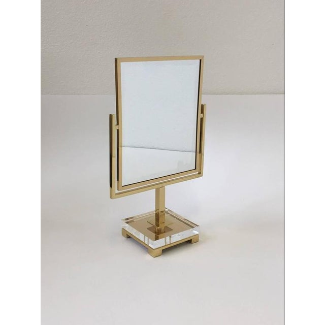 Gold Polished Brass and Acrylic Vanity Mirror by Charles Hollis Jones For Sale - Image 8 of 8