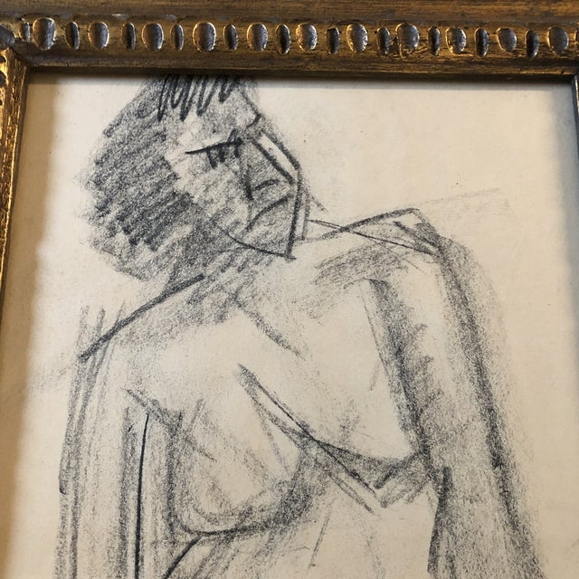 Original charcoal Female Nude Sketch 11 x 14 Overall size with vintage frame is 15 x 18